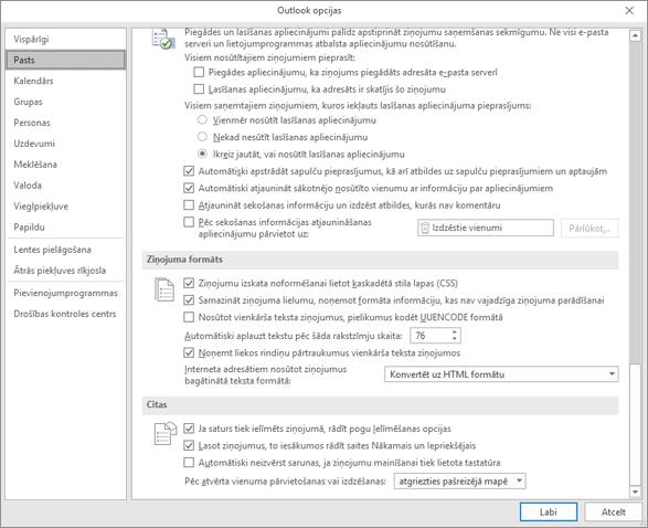 Outlook opciju lapa ar iezīmētu pasta kategoriju