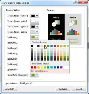 Dizaina krāsas maiņa