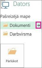 Spraudītes ikonas izmantošana izvēlētās saglabāšanas vietas piespraušanai