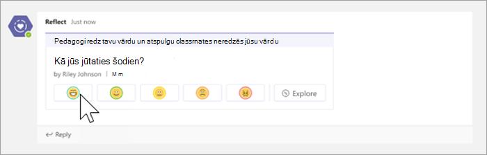 """ekrānuzņēmums ar lietojumprogrammas atspoguļošanas skolēnu skatu. 5 Emoji emocijzīmes no elated līdz angry ir zem jautājuma """"Kā šodien šķiet?""""."""