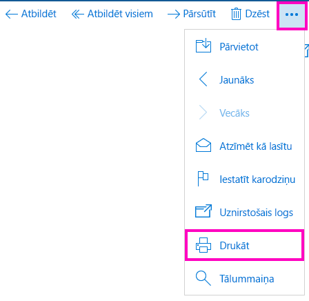 Drukāt e-pasta ziņojumu programmā Pasts darbam ar Windows10