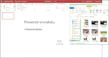 Tukša prezentācija un failu pārlūka logs ar attēliem