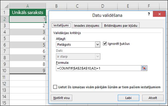 4.piemērs Formulas datu validācijā