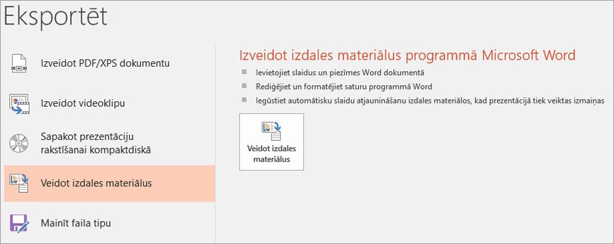 PowerPoint lietotāja interfeisa ekrānuzņēmums, kurā tiek rādīts fails > eksportēšanas > izveidot izdales materiālus.