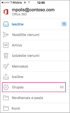 Grupas ir mezglu uz mapju saraksts programmā Outlook mobilo