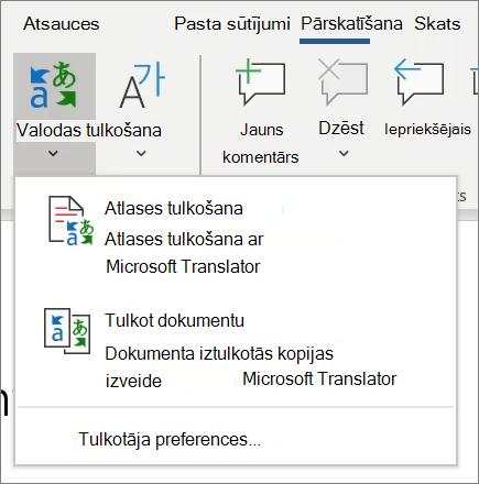 Tulkošana programmā Word