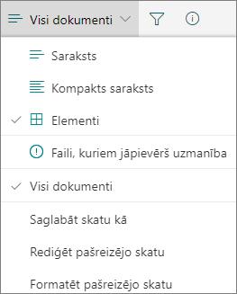 Office 365 mainīt dokumentu bibliotēkas skatu