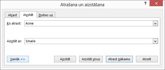 Programmas Outlook dialoglodziņš Atrašana un aizstāšana.