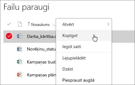 Ekrānuzņēmums ar dokumenta īsinājumizvēlni un aktīvu opciju Kopīgot.