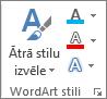 Grupa WordArt stili, kurā tiek rādītas tikai ikonas