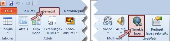 Pievienojumprogramma LiveWeb atrodas lentes cilnes Ievietošana labajā pusē