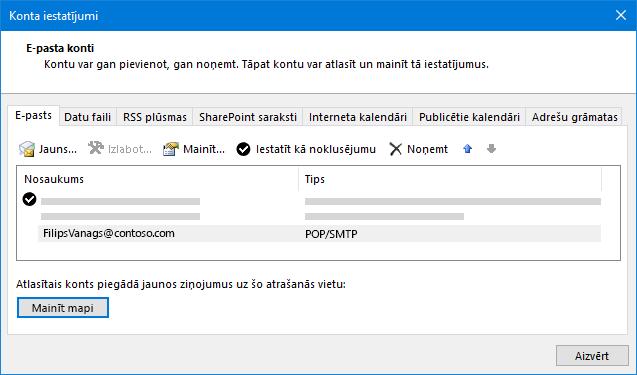 Outlook konta iestatījumu dialogs