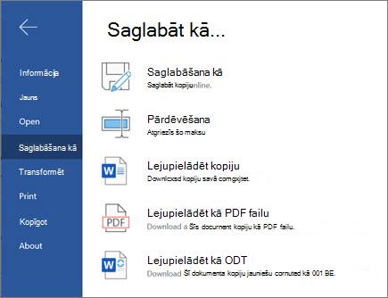 Programmas Word Web-Save opcijas