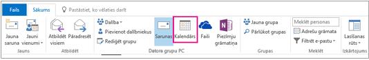 Grupas lentes poga Kalendārs programmā Outlook