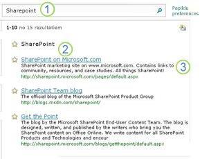 Trīs labākie minējumi saistībā ar SharePoint Server tiek parādīti meklēšanas rezultātu lapas augšdaļā