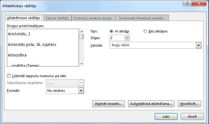 dialoglodziņš alfabētiskais rādītājs