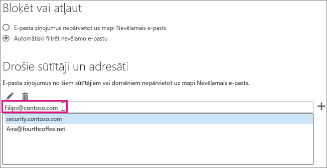 Pievienošana drošo sūtītāju programmā Outlook Web App