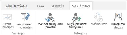Mērķa vietnes variantu cilnes ekrānuzņēmums. Cilnei ir divas grupas: varianti un tulkojumi