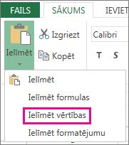 Excel Web App komanda Ielīmēt, kurā redzama opcija Ielīmēt vērtības