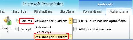 """Opcija """"Atskaņot pāri slaidiem"""" audio failam programmā PowerPoint2010"""
