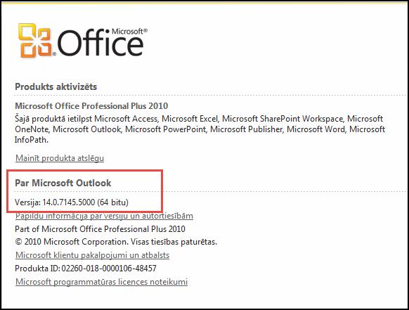 Ekrānuzņēmums, kurā redzama lapa, kur varat skatīt Outlook 2010 versiju sadaļā Par Microsoft Outlook