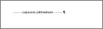 Lappuses pārtraukums programmas Word lappuses apakšdaļā