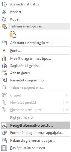 Excel Win32 Alt teksta rediģēšanas izvēlne rakursdiagrammām