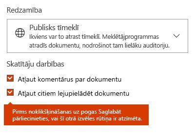 Dokumenta lejupielādes opcija pakalpojumā Docs.com