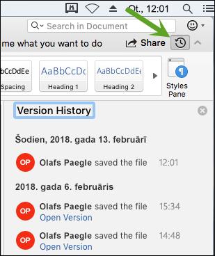 Noklikšķinot uz pogas Versiju vēsture, tiek atvērta versiju vēstures rūts, kurā varat atlasīt dokumenta iepriekšējās versijas