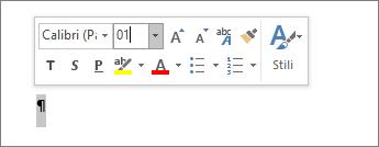 Fonta izmēra iestatīšana uz 1