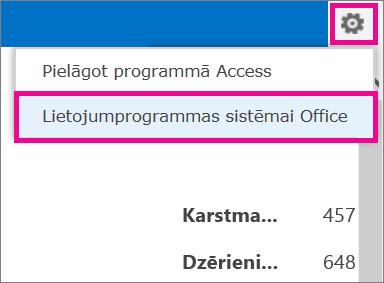 Programmu sistēmai Office komanda iestatījumu izvēlnē