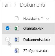Ekrānuzņēmums ar faila atlasīšanu pakalpojuma OneDrive saraksta skatā