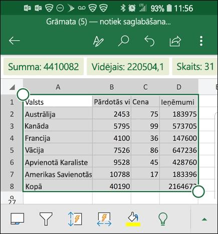 Programma Excel ir konvertējusi datus un atgriež to režģim.