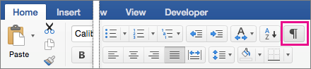 On the Home tab, Show Editing Marks is highlighted