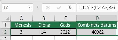 Funkcija DATE, 1.piemērs