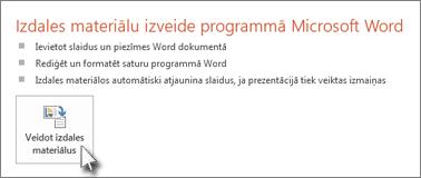 Veidot izdales materiālus programmā Word