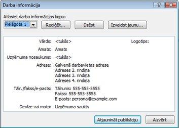 Darba informācijas kopas rediģēšana programmā Publisher2010