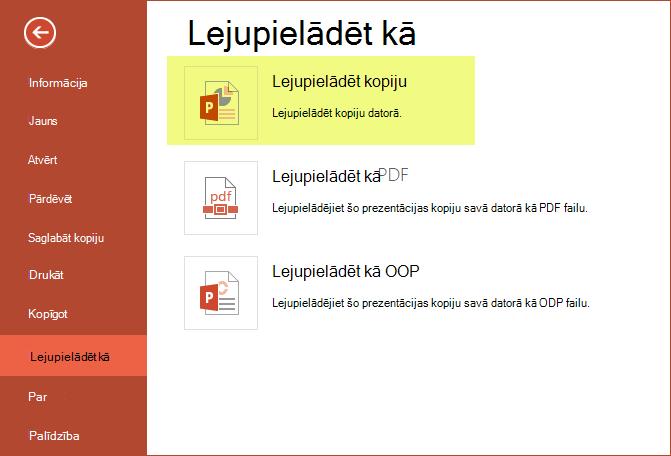 Lai prezentāciju saglabātu datorā, izmantojiet kopiju