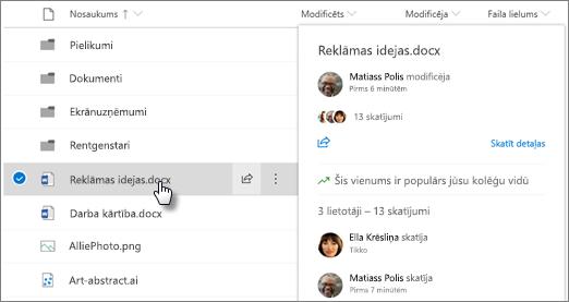 Ekrānuzņēmums, kurā failu norādīšanas karti, kas tiek parādīts, kad norādāt uz failu, kas atrodas OneDrive vai SharePoint