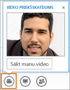 Ekrānuzņēmums, kurā redzama video sākšana sapulcē ar video priekšskatījumu