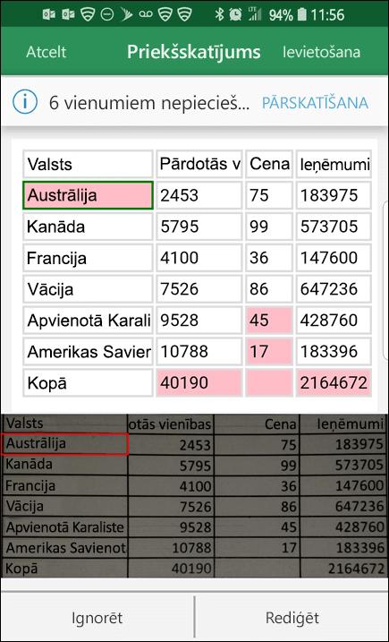 Excel datu importēšana no attēla sniedz iespēju izlabot visas problēmas, kas tika atrastas, konvertējot datus.
