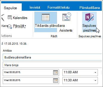OneNote pogas Sapulces piezīmes programmā Outlook ekrānuzņēmums.