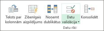 Opcija Datu validācija atrodas cilnes Dati grupa Datu rīki