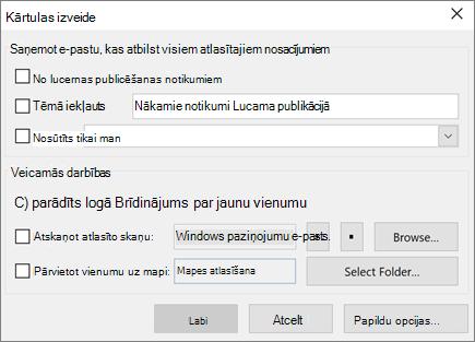 Kārtulas izveide programmā Outlook