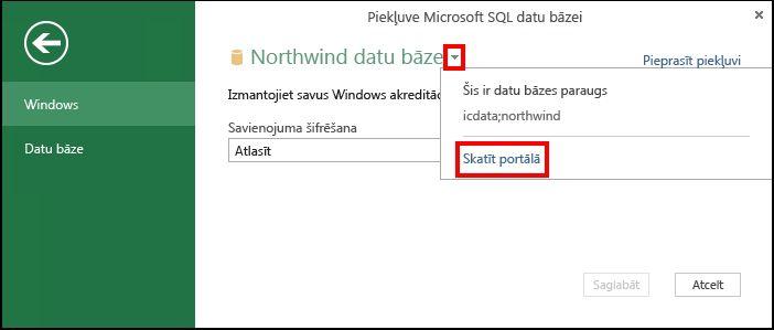 Datu avota informācijas skatīšana portāla