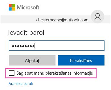 Ekrānuzņēmums ar Outlook.com pierakstīšanās lapā pieejamo izvēles rūtiņu Saglabāt manu pieteikuminformāciju