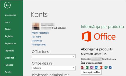 Office lietojumprogrammas logā Konts tiek parādīts ar Office saistītais Microsoft konts
