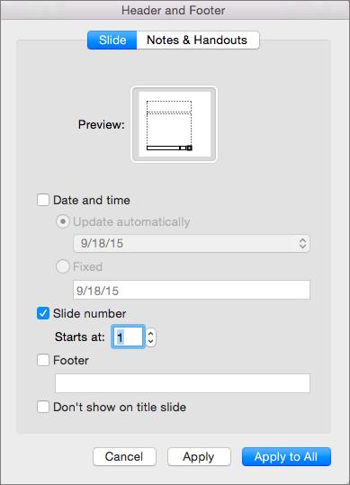 Tiek parādīts galvenes un kājenes dialoglodziņš programmā PowerPoint 2016 for Mac