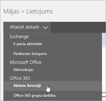 """Sadaļā """"Atlasīt atskaites nolaižamo elementu"""" noklikšķiniet uz """"Aktīvie lietotāji"""""""