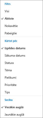 Izvēlēties, kā filtrēt, kārtot un grupēt uzdevumus Outlook.com uzdevumu sarakstā